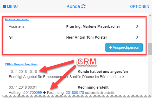 offer-cube Features Kunden Kontakte CRM